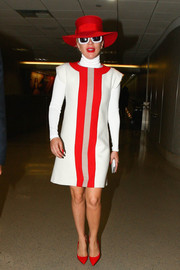 Lady Gaga added an extra pop of red with a pair of Brian Atwood pumps.
