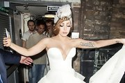 Gaga made a surprising entrance at the Paralympic closing ceremony after party in a wedding dress and a crown tiara.