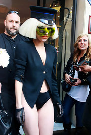 Showing off another cool accessory, Lady Gaga paired her pant-less ensemble with lace gloves.