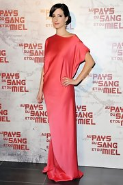 Zana Marjanovic wore this tangerine silk gown to the 'In the Land of Blood and Honey' premiere.