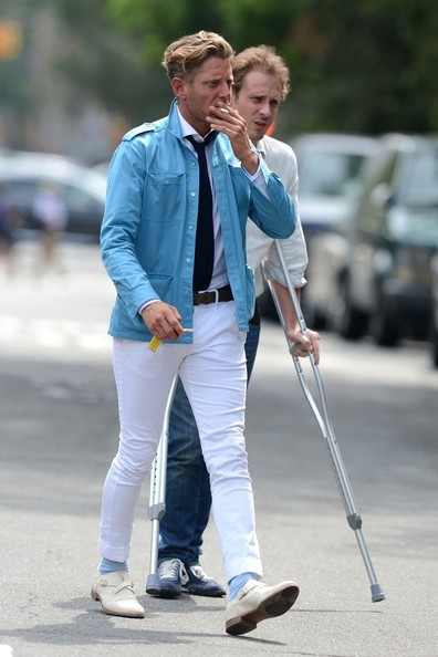 Lapo Elkann rocked a pair of tight white skinny jeans while out and about in New York City.