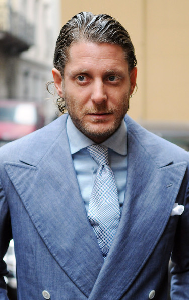 Lapo Elkann sported a wet-look hairstyle at the I Spirit Vodka press conference.