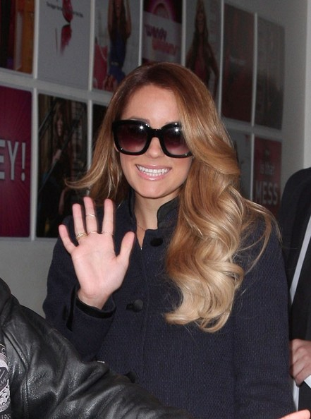 Lauren Conrad left 'The Wendy Wiliams Show' wearing her shiny hair in long golden waves.