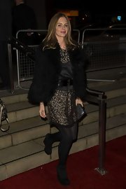 Trinny Woodall piled on the glam for the 'Les Miserables' premiere with a black fur jacket layered over a beaded LBD.