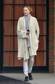 Lily Cole rocked an oversized nude shawl-collar cardigan while out and about in Manhattan.