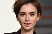 Lily Collins Messy Cut
