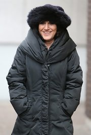 Lesley Joseph bundled up in style with a fur hat while out at the London Studios.