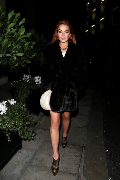 More Pics of Lindsay Lohan Fur Coat (1 of 17) - Fur Coat Lookbook - StyleBistro