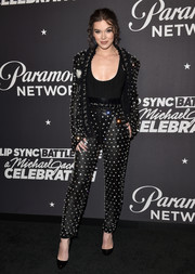 Hailee Steinfeld stole the spotlight in a sheer, crystal-studded pantsuit by Balmain at the 'Lip Sync Battle LIVE: A Michael Jackson Celebration.'