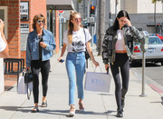 Lisa Rinna did some retail therapy wearing a denim jacket and black leggings.
