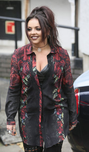 Jesy Nelson hovered between goth and girly in this rose-print button-down while visiting the ITV Studios.