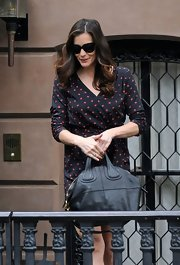 Liv Tyler carried a luxe black leather Nightingale tote in NYC.