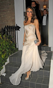 Is it just us, or does Elizabeth Hurley look like Cinderella in her glittering peep toe pumps?