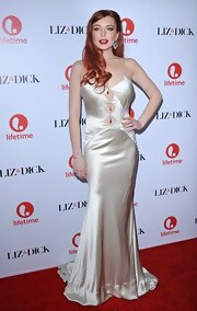 Lindsay Lohan embodied retro romance at the 'Liz & Dick' premiere in a slinky slip dress with dramatic cutouts from neckline to navel.