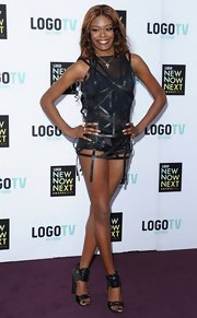 Azealia Banks' showed off her edgy style with this strappy mini dress.