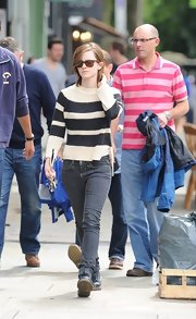 Emma Watson looked classic and cool in a washed-out pair of skinny jeans.