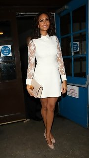 Alesha Dixon's white lace mini dress at the Music Industry Trusts Awards had a 1960s feel.