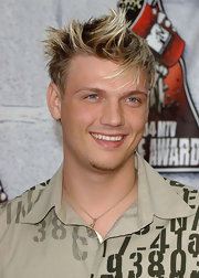 Nick Carter was all smiles as he showed off his spiked blond locks at the 2004 MTV Movie Awards.