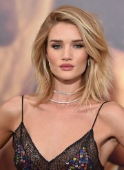 Rosie Huntington-Whiteley accessorized with a gorgeous layered diamond necklace by Anita Ko.