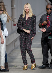 Margot Robbie headed to 'Jimmy Kimmel Live' wearing a print blouse by Thakoon.