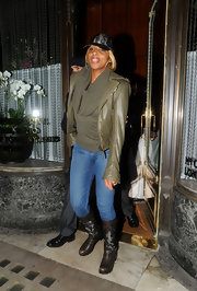 Mary J. Blige took the military look to the next level in a pair of camouflage flat boots. The funky footwear perfectly matched her camouflage trucker hat, as well as an olive sweater and leather jacket.