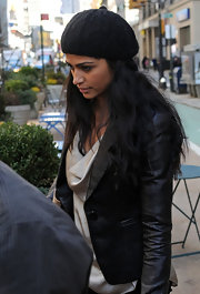 Camila Alves kept warm and stylish in NYC with a black wool beret.