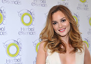 Leighton Meester made a promotional appearance for haircare product Herbal Essences, where she showed off her radiant locks.