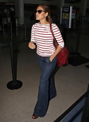 Eva Mendes is carrying a Prada 'Saffiano & Tessuto' tote everywhere these days.