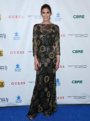 Hilary Rhoda looked breathtakingly elegant in a black gown with circular sequin accents during the La Vie En Bleu event.