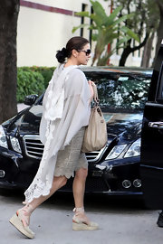 Catherine Zeta Jones looked resort-ready in Miami in chic taupe espadrilles.