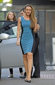 It's another day at London Studios for Michelle Heaton as she walked her way to work in a stylish colorblock dress.