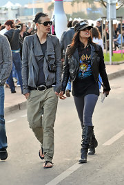 Michelle Rodriguez visited the Promenade de la Croisette looking edgy in black knee-high boots and a leather jacket.