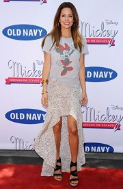 Brooke Burke chose a retro Minnie tee for her red carpet look at the launch of 'Mickey Through the Decades Collection.'