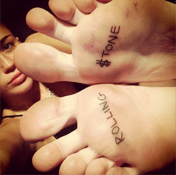 Miley Cyrus Lettering Tattoo