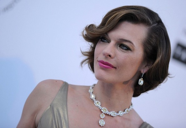 Milla Jovovich Dangling Diamond Earrings