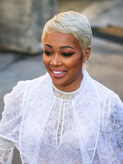 Monica showed off a stylish platinum-blonde pixie while headed to 'Kimmel.'