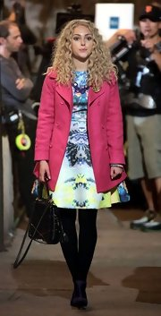 A punchy pink hue made Annasophia's classic coat a modern essential.