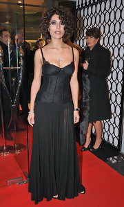 Caterina dressed for the Italian Playboy event wearing this black corset dress.