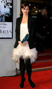 Elizabeth McGovern stood out in a feathered little white dress at the 'My Week with Marilyn' premiere.