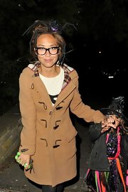 Myleene Klass opted for warmth and comfort over costume on Halloween in this classic toggle trench.