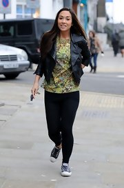 Myleene Klass chose a fitted leather jacket to pair with her floral top while out and about.