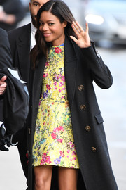 Naomie Harris went for some retro charm with this floral mini dress while visiting 'Kimmel.'
