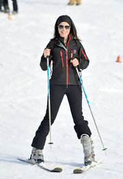 Neve Campbell looked stylish on the slopes in a black Under Armour ski jacket.