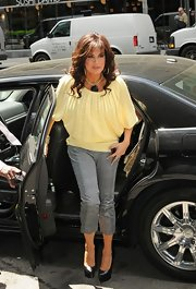 This soft buttery yellow sweater was as sweet as sugar on Marie Osmond. What a great daytime choice!