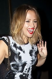 Kimberley Walsh looked oh-so-sexy with her super-red lips while out clubbing in London.