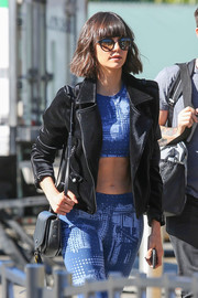 Nina Dobrev headed to 'Extra' wearing a pair of modern butterfly sunnies by Westward Leaning.