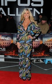 Frankie Essex went for this totally daring red carpet look of mixed patterns and sequins.