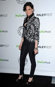 Lana Parilla looked regal in a black-and-white jacquard blazer.