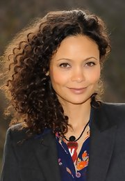 Thandie's corkscrew curls were light, buoyant, and full of bounce at the One Billion Rising photocall.