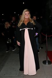 Gemma Collins chose a long and flowing dress featuring a soft pink panel and belt.